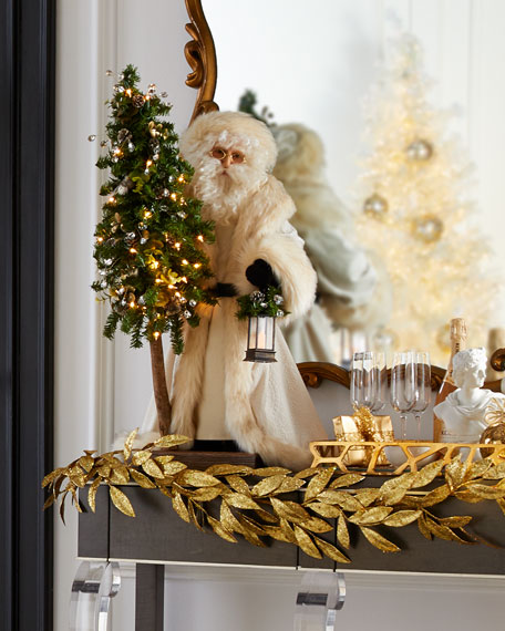 Golden Opulence Santa with Lighted Tree, 57""