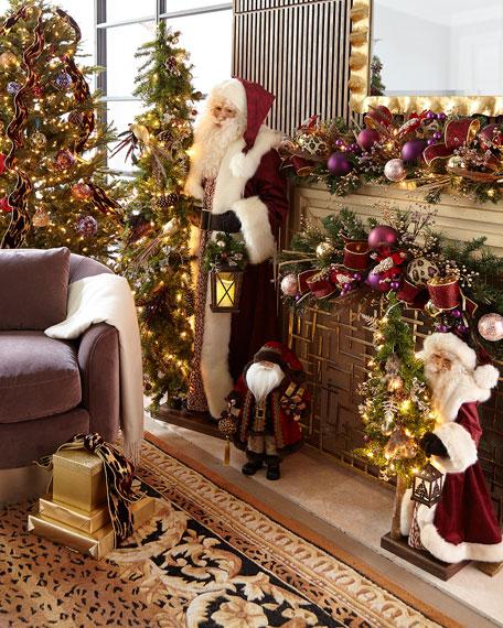 "Plum Wine Holiday Santa with Lighted Christmas Tree, 57"""