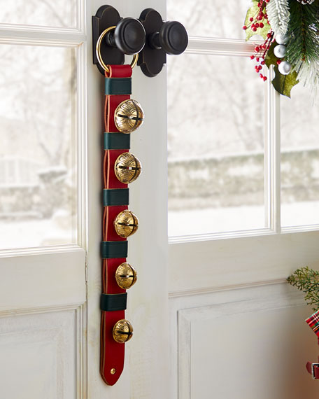 5 Brass Jingle Bells on Red & Green Leather Strap
