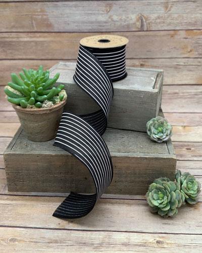 Faux Linen Mini Stripe Ribbon  2.5 X 10 Yards