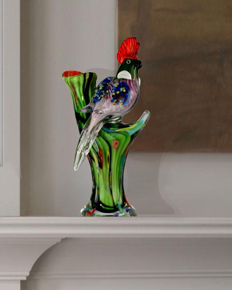 Watchful Bird Art Glass Figurine