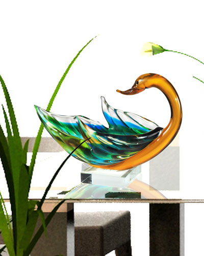 Swan Bowl Art Glass Sculpture