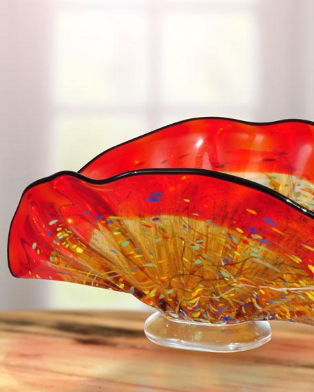 Indiana Shell Hand-Blown Art Glass Vase
