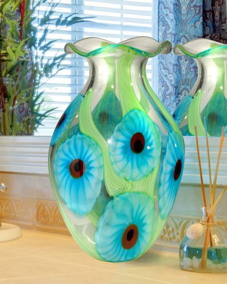 Cape Caribe Hand-Blown Art Glass Vase