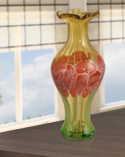 Alabama Hand-Blown Art Glass Vase