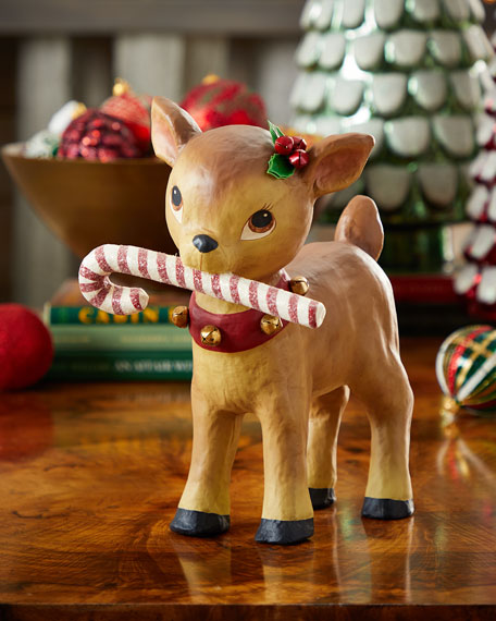 Retro Reindeer with Candy Cane