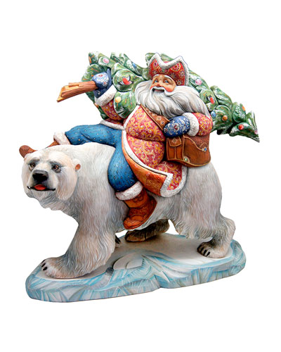 Polar Bear Ride Santa Carrying Tree - Limited Edition