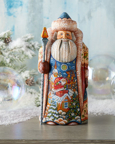 Special Delivery Wood-Carved Santa  Limited Edition in Wooden Chest