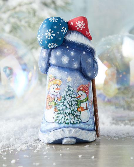 Festive Snowy Christmas Wood-Carved Santa