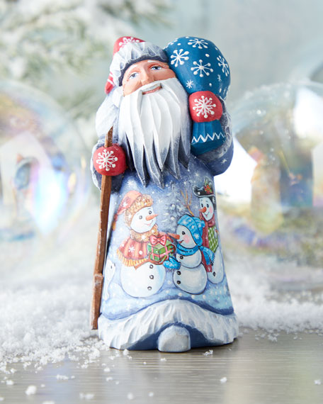 G. Debrekht Festive Snowy Christmas Wood-Carved Santa