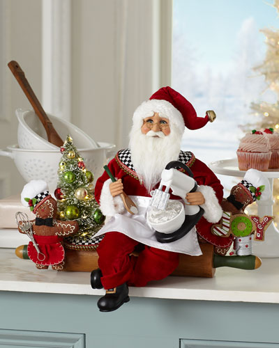 Lighted Rolling Out Christmas Santa