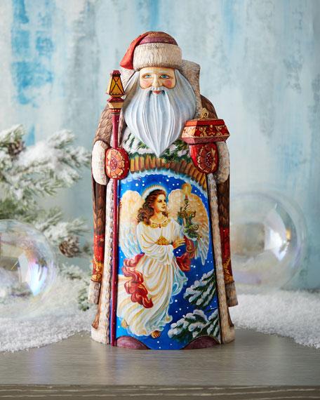 G. Debrekht Lighting the Holidays Wood-Carved Santa, Limited