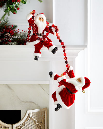 Traditional Poseable Santa Pair