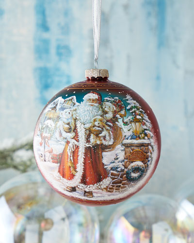 Silent Night Santa  Limited Edition Glass Ball Ornament