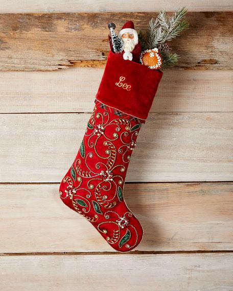 Kim Seybert Holiday Cheer Stocking, Personalized