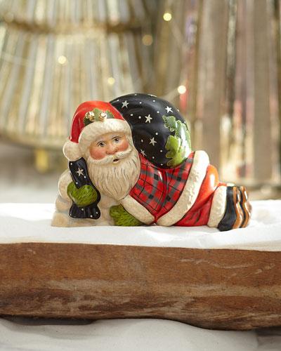 31st Starlight Santa: Laying Santa In Plaid With Bells