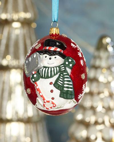 Jingle Balls Snowman with Shovel Ornament