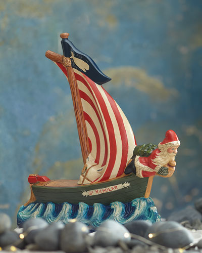 Santa Figurehead on Nantucket Boat