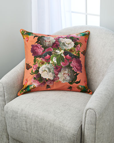 Peonies With Love Birds Accent Pillow