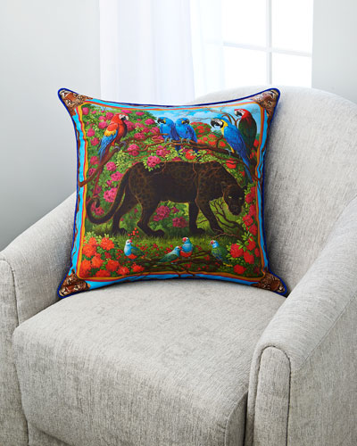 Black Spotted Panther Silk Pillow