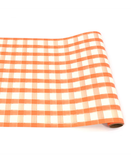Orange Painted Check Table Runner