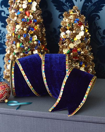Royal Blue Velvet Ribbon With Rhinestones  4 x 5 yds