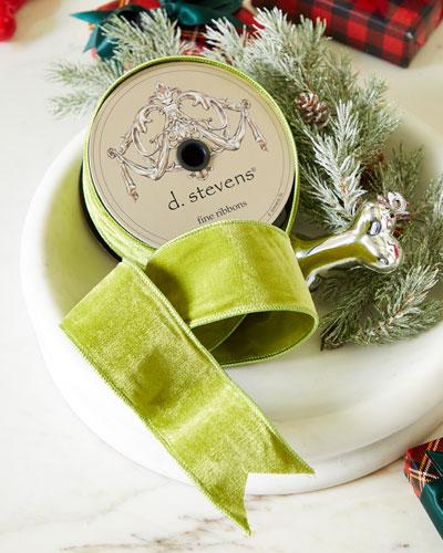 Reversible Green Velvet & Taffeta Ribbon