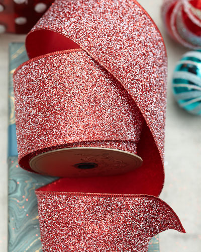 Metallic Glitter Ribbon with Red/White Edge  4x10yds
