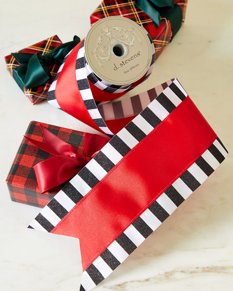 D. Stevens Red/White/Black Grosgrain Ribbon