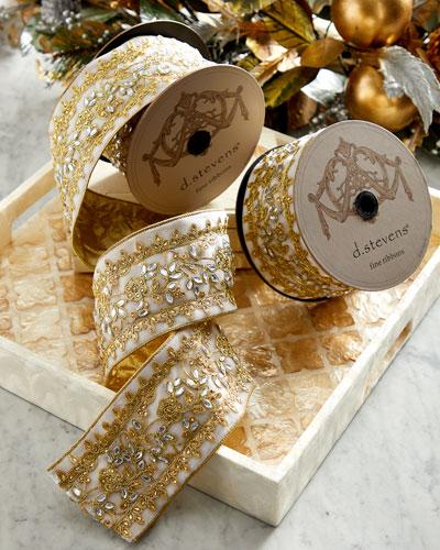 Velvet Gold Metallic-Trim Ribbon  4x5yds