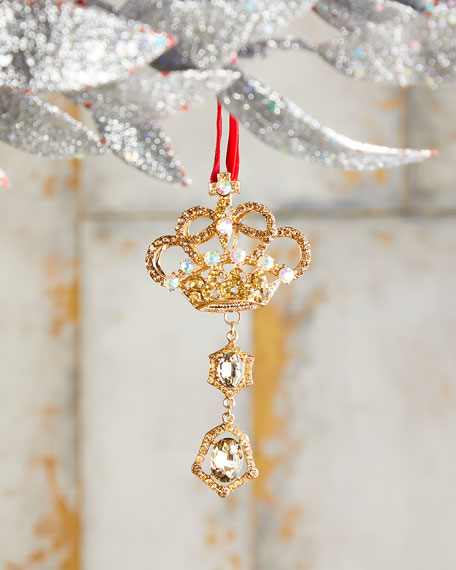 "4.5"" Jeweled Crown Drop Christmas Ornament"