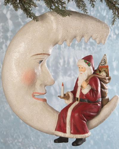 Santa on Icicle Moon Holiday Decor