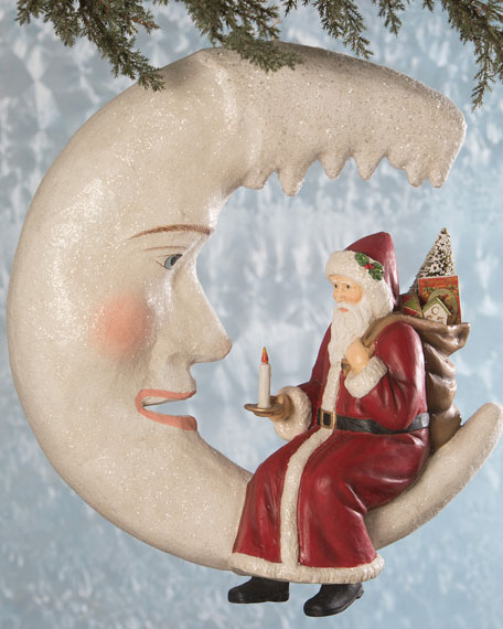 Bethany Lowe Santa on Icicle Moon Holiday Decor