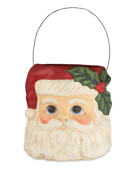 Bethany Lowe Holly Jolly Santa Bucket