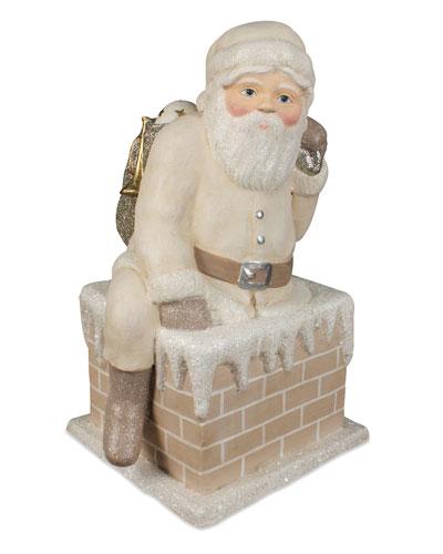 Ivory Santa Down Chimney Holiday Decor