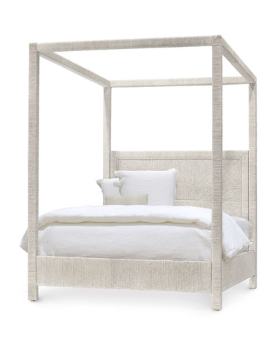 Woodside Canopy Queen Bed  White Sand