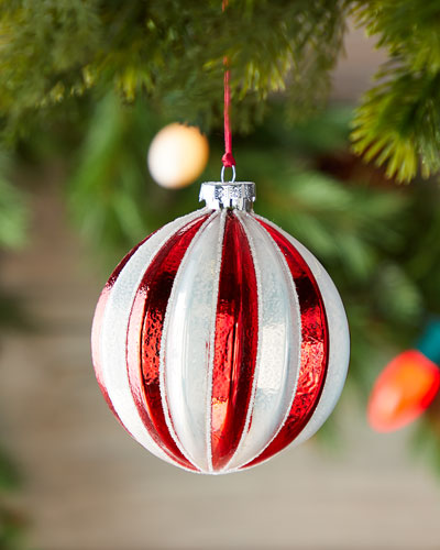 100mm Ribbed Ball Christmas Ornament