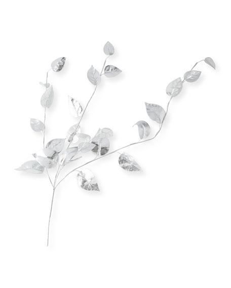 Shiny Silver Ivy Leaves Spray