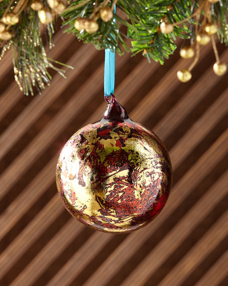 100mm Metallic Leaf Glass Ball Christmas Ornament