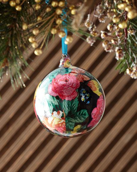 Jim Marvin 120mm Glitter Floral Glass Ball Christmas