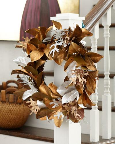 Golden Silver Leaf Wreath