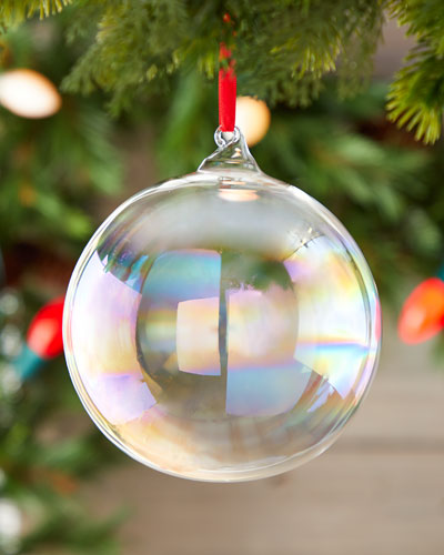 150mm Iridescent Glass Ball Ornament with Hook
