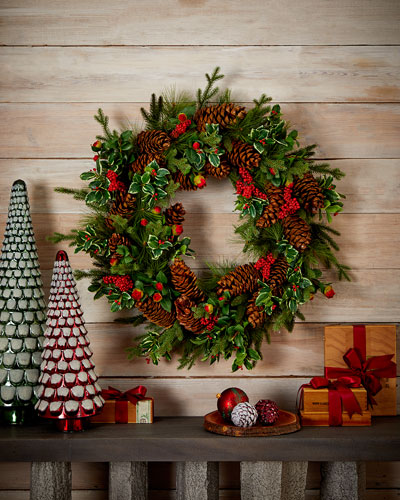 Pine Cone Berry Wreath - 36