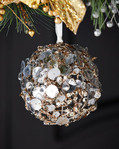 100mm Plastic Silver Sequin Christmas Ornament