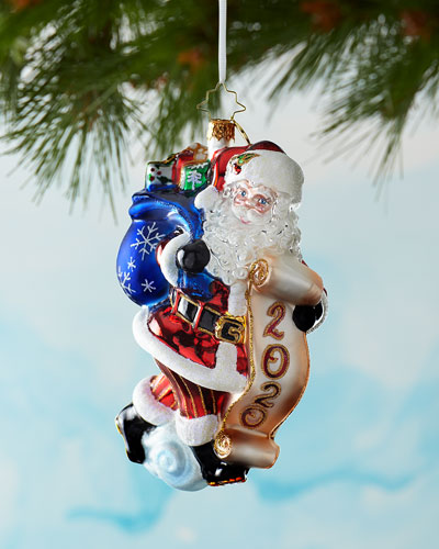 2020 Santa Saves The Date Christmas Ornament
