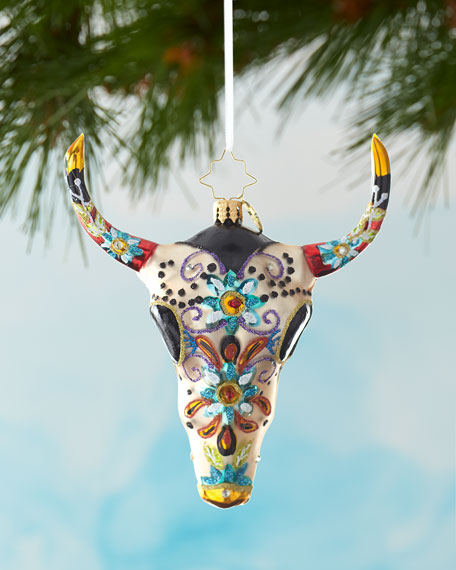 Christopher Radko Sugar Skull Bull Christmas Ornament