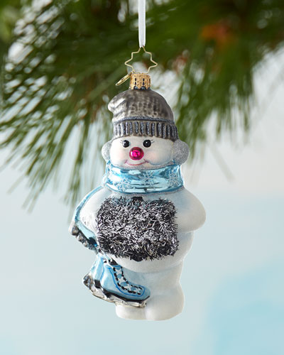 Tinsel Toting Skater Christmas Ornament