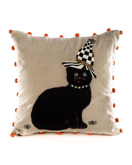 MacKenzie-Childs Black Cat in Hat Pillow