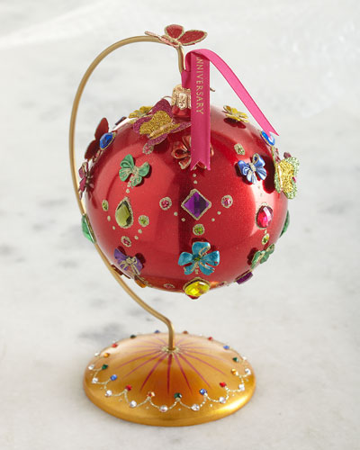 25th Anniversary Jeweled Glass Ornament with Stand