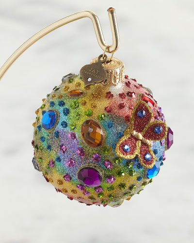 Jeweled 3 Glass Ornament